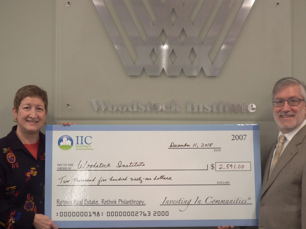 IIC Big Check to Woodstock Inst.
